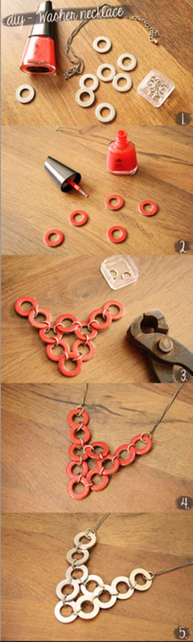 DIY Lavadora Collar Tutorial | 10 sencillos y frescos Ideas joyería de bricolaje | Accesorios de bricolaje, ver más en http://artesaniasdebricolaje.ru/diy-jewelry-cool-easy-diy-jewelry-ideas