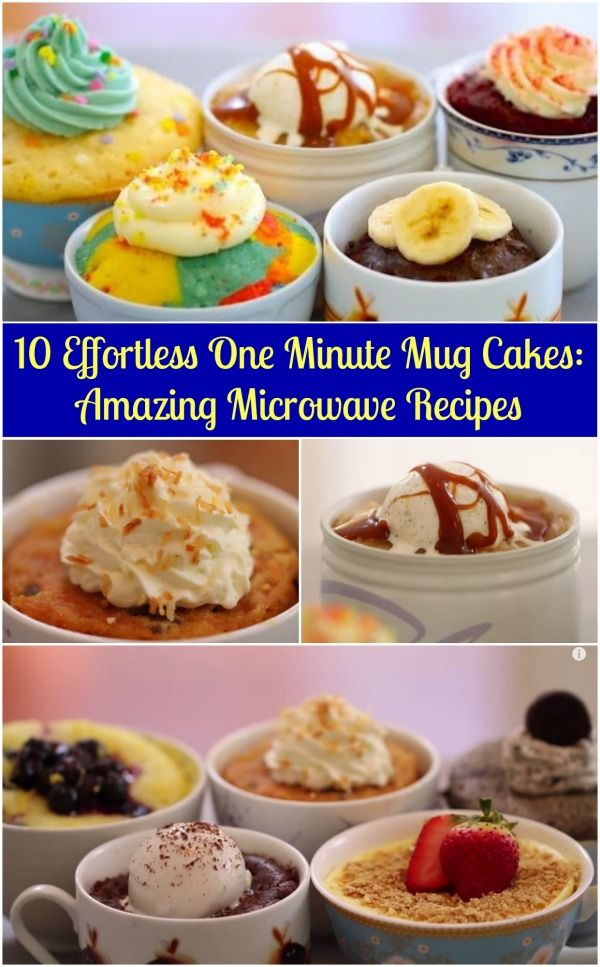 10 sin esfuerzo One Minute Taza Cakes: Amazing Recetas Microondas - Probablemente la colección de recetas pastel de taza más simple.