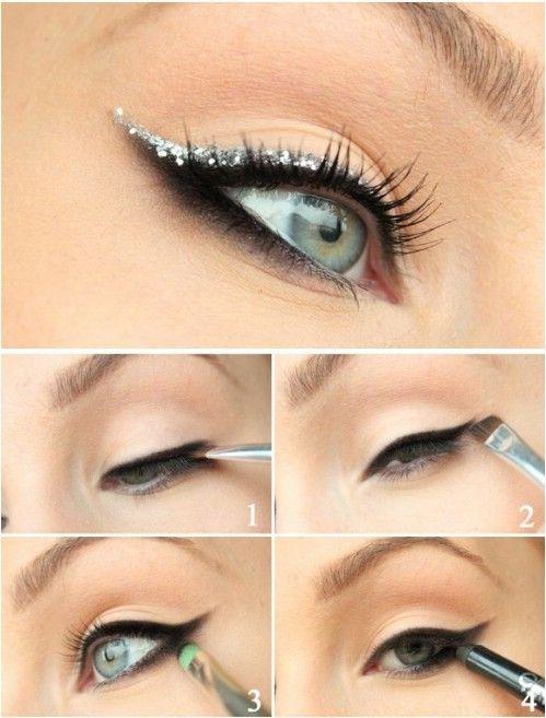 Glitter Cat-Eye - 10 Ideas de maquillaje con estilo festivo de Navidad