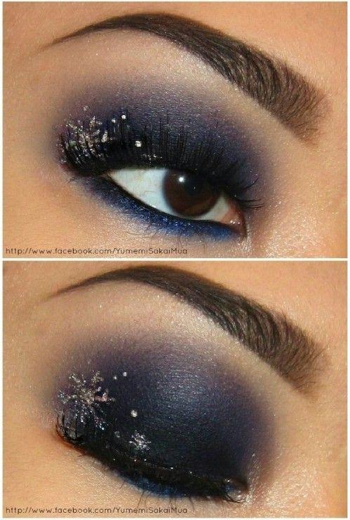 Copo de nieve de Ojos - 10 Ideas de maquillaje con estilo festivo de Navidad