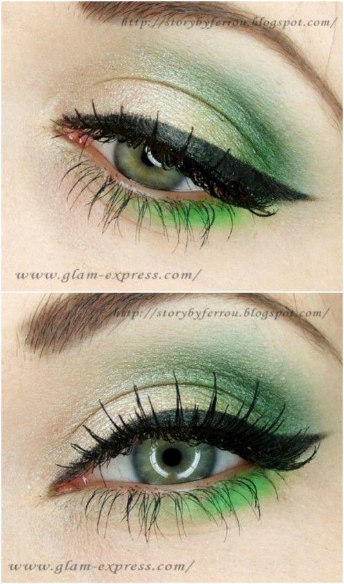 Ojos verdes - 10 Ideas de maquillaje con estilo festivo de Navidad