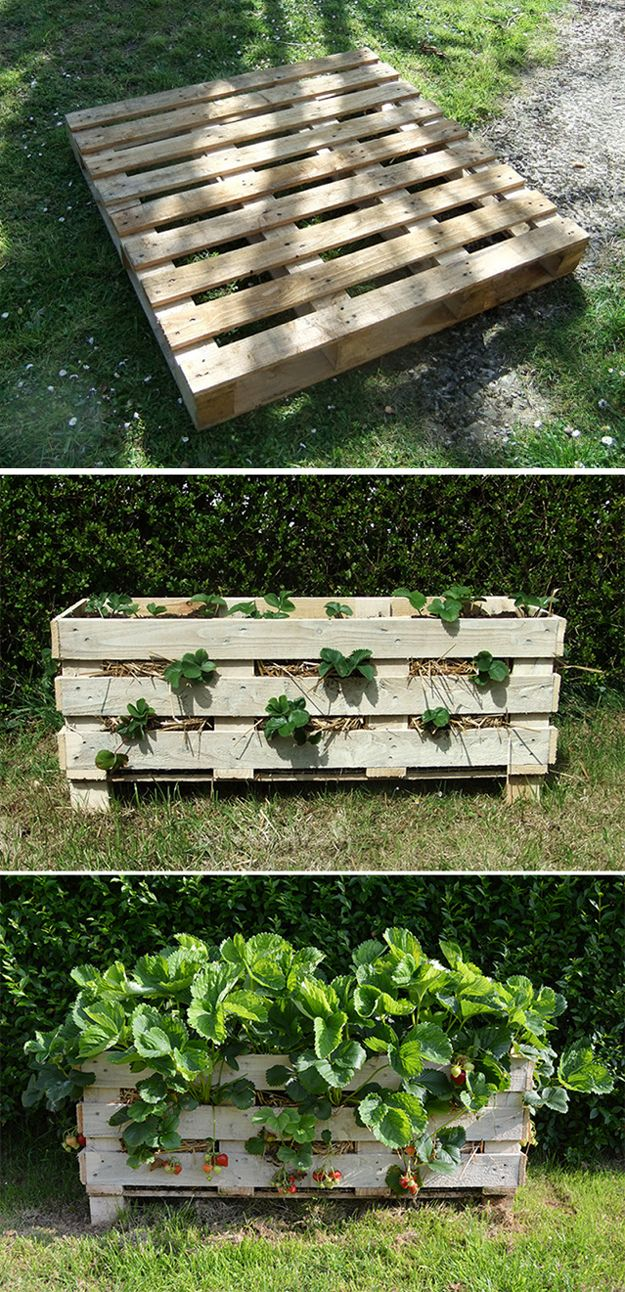 DIY fresa Pallet Planter Tutorial | artesaniasdebricolaje.ru/pallet-projects-gardening-supplies/