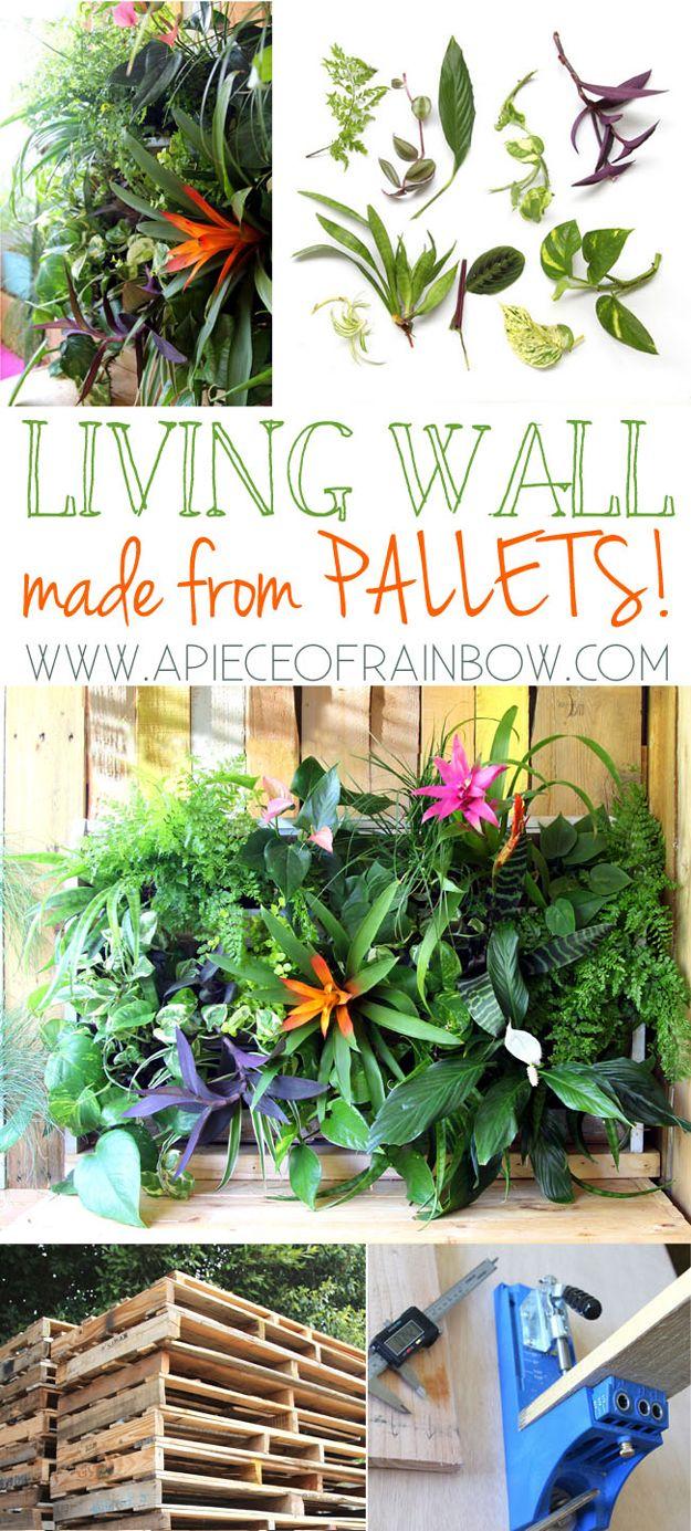 DIY fácil de paletas de pared Proyectos Jardinera | artesaniasdebricolaje.ru/pallet-projects-gardening-supplies/