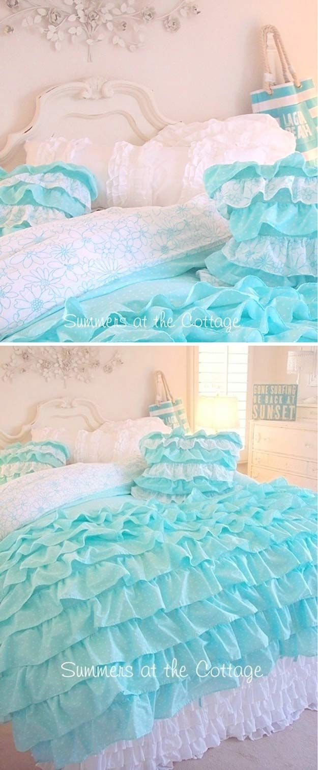 DIY Shabby Chic Volantes de cama | http://artesaniasdebricolaje.ru/12-diy-shabby-chic-bedding-ideas/