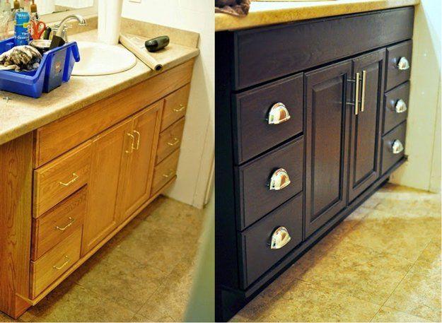 Baño DIY Makeover Tutoriales | http://artesaniasdebricolaje.ru/incredible-diy-bathroom-makeover/