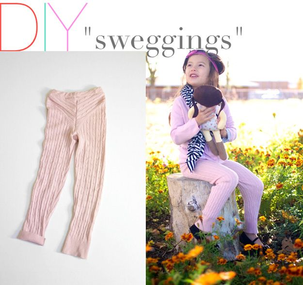 Leggings caseras de upcycled suéter Tutoriales | artesaniasdebricolaje.ru/15-diy-clothes-for-kids-you-should-make/