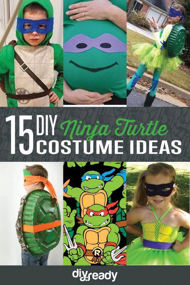 15 DIY Ninja Turtle ideas para disfraces, ver más en http://artesaniasdebricolaje.ru/diy-ninja-turtle-costume-ideas