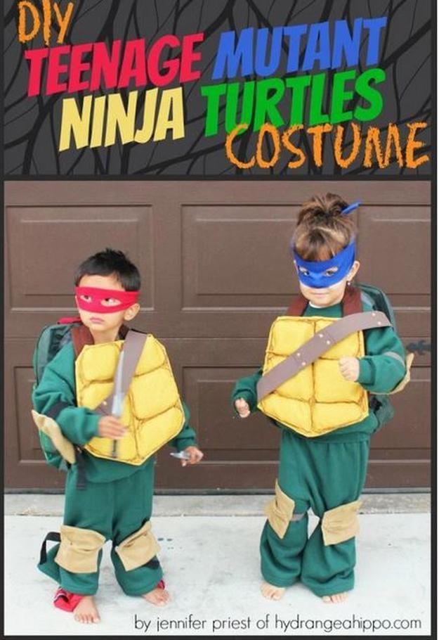 niños DIY Tortuga Ninja idea del traje, ver más a http://artesaniasdebricolaje.ru/diy-ninja-turtle-costume-ideas