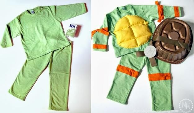 pijamas Tortuga Ninja idea del traje, ver más a http://artesaniasdebricolaje.ru/diy-ninja-turtle-costume-ideas