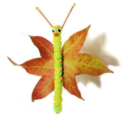 Hoja mariposas - 15 Fabulous Fall Leaf Crafts for Kids