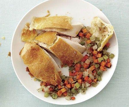 Pollo Pastelería Envuelto con el relleno de verduras