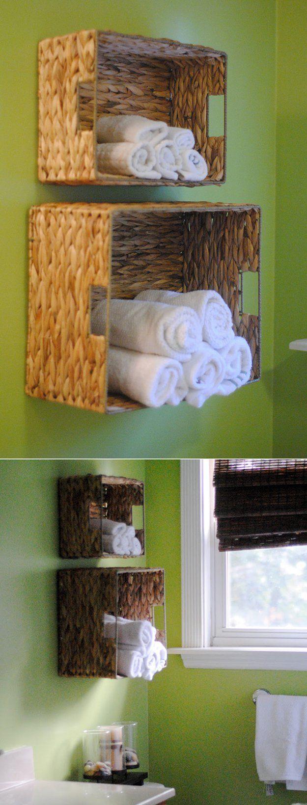 Cesta de baño de bricolaje Ideas Organización | http://artesaniasdebricolaje.ru/organization-hacks-bathroom-storage-ideas/