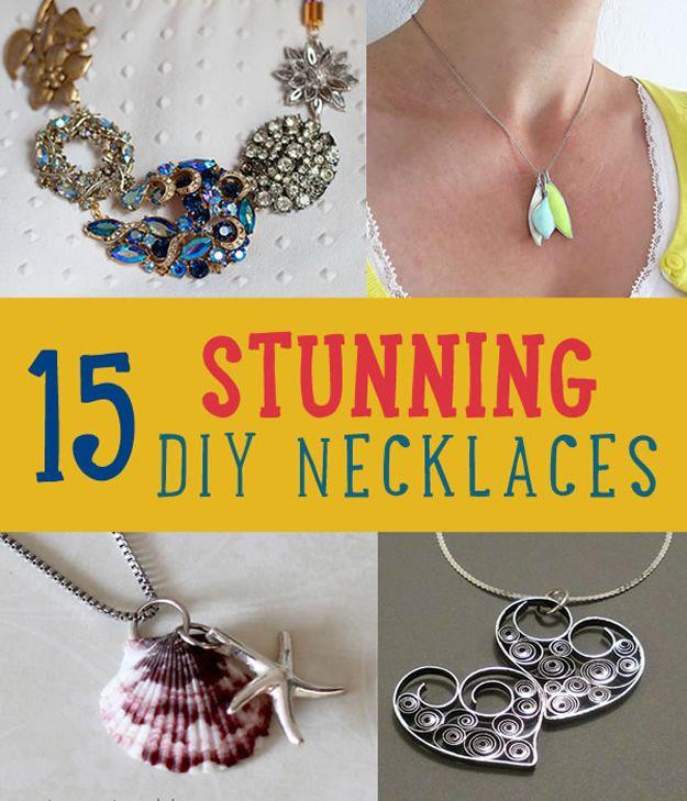 15 collares de bricolaje Impresionantes | Joyas DIY | http://artesaniasdebricolaje.ru/diy-necklaces-diy-jewelry/