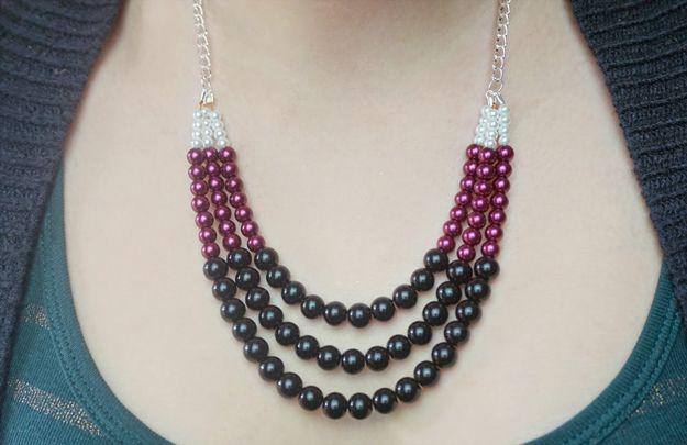 Declaración de Collar de bricolaje con cuentas | http://artesaniasdebricolaje.ru/diy-necklaces-diy-jewelry/