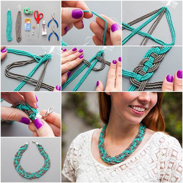 DIY Collar Tutorial para adolescentes con cuentas | http://artesaniasdebricolaje.ru/diy-necklaces-diy-jewelry/