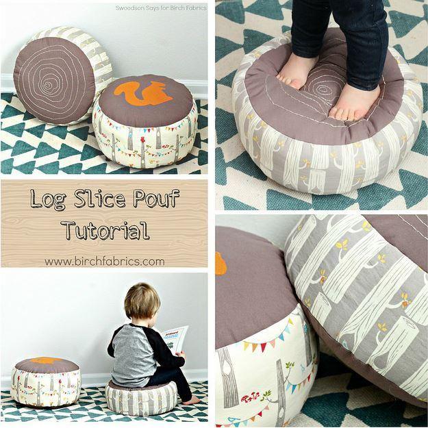 Entrar Slice Puf Tutoría   17 Ideas Puf bricolaje, ver más en http://artesaniasdebricolaje.ru/17-diy-pouf-ideas