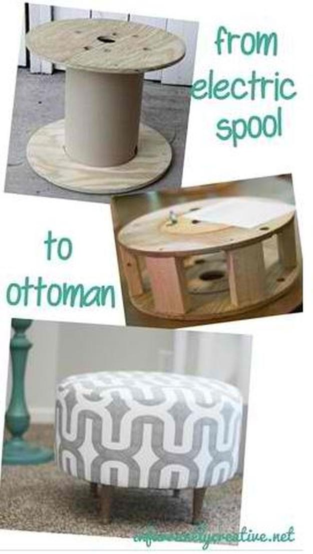Madera Otomano DIY   17 Ideas Puf bricolaje, ver más en http://artesaniasdebricolaje.ru/17-diy-pouf-ideas