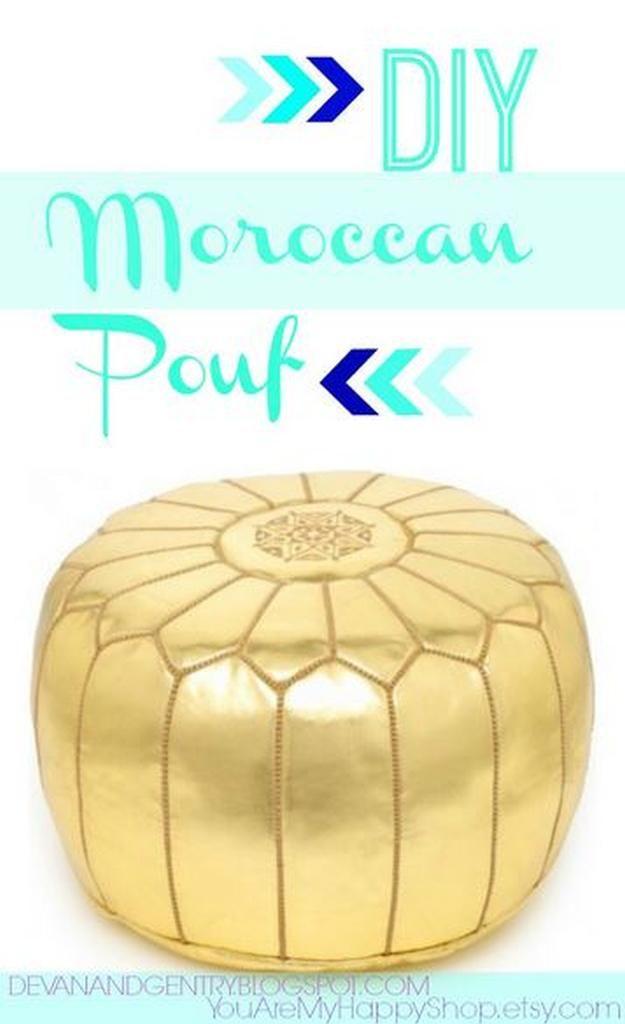 DIY marroquí Puf   17 Ideas Puf bricolaje, ver más en http://artesaniasdebricolaje.ru/17-diy-pouf-ideas