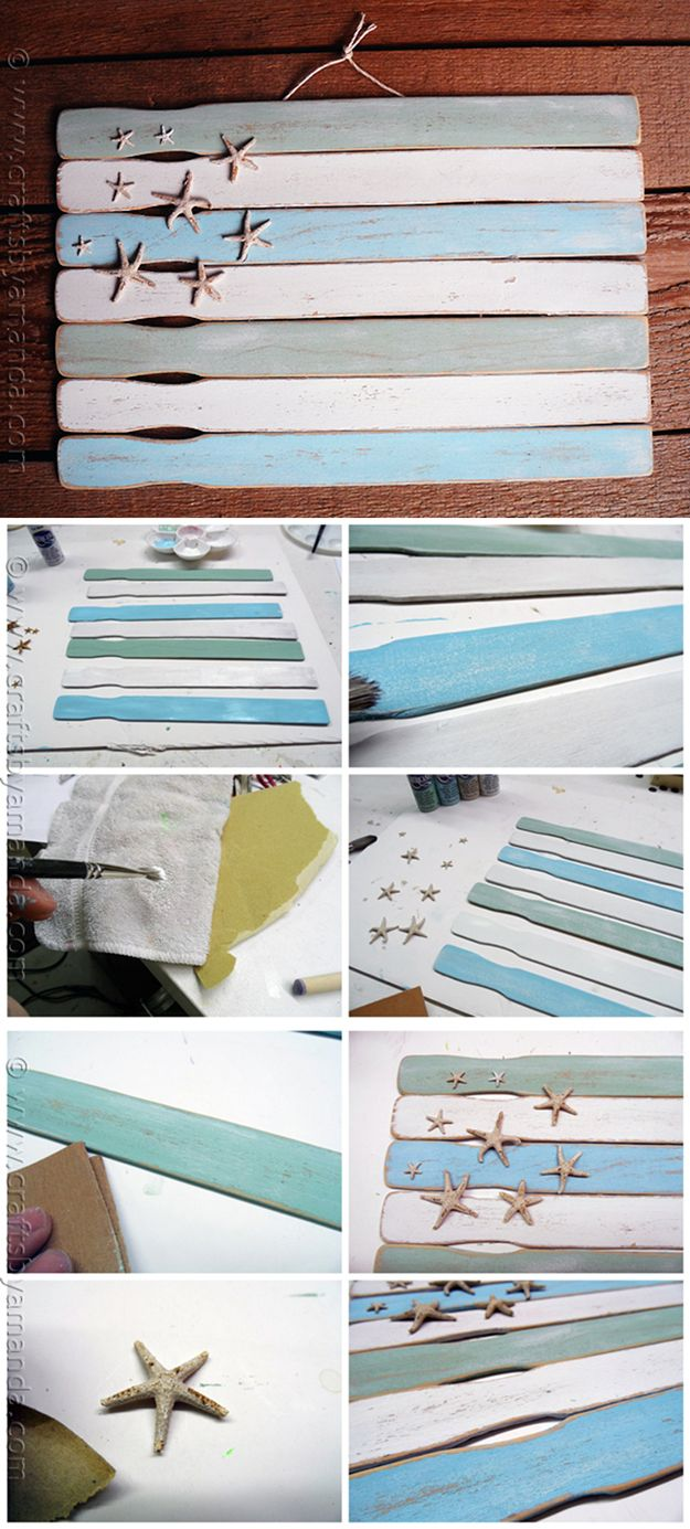 Fácil pintura Ideas Bandera palillo de decoración de la pared | http://artesaniasdebricolaje.ru/paint-stick-diy-projects/