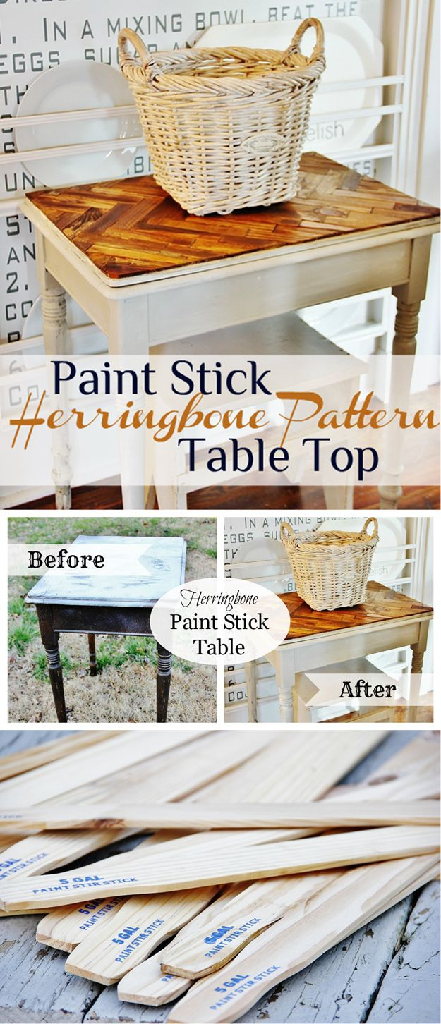 Pintar palillo Proyectos de mesa y Tutoriales | http://artesaniasdebricolaje.ru/paint-stick-diy-projects/