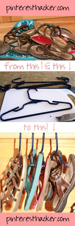 Flip flop Hanging Organizador - 20 maneras creativas para organizar y decorar con perchas