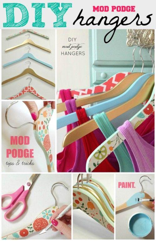 Mod Podge decorativo Perchas - 20 maneras creativas de organizar y decorar con perchas
