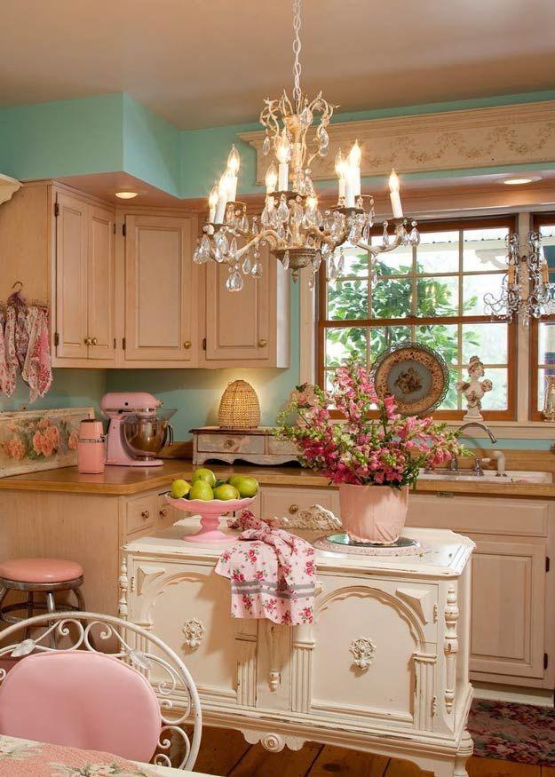 Vintage elegante lamentable Cocina Decoración | http://artesaniasdebricolaje.ru/diy-shabby-chic-decor/