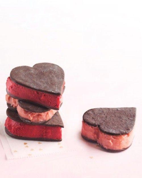 En forma de corazón del sorbete Sandwiches - 20 Sabroso y romántico Día de San Valentín Treats Le encantará