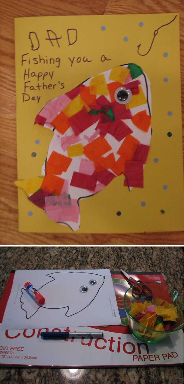 Simple y fácil de bricolaje Padre's Day Card from Toddlers | http://artesaniasdebricolaje.ru/21-diy-fathers-day-cards/