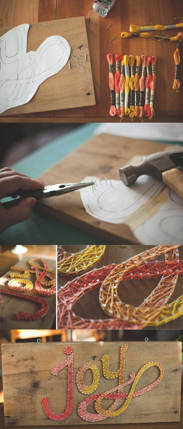 Fácil de Cuerda Ideas arte de la pared para la decoración del dormitorio | http://artesaniasdebricolaje.ru/easy-teen-room-decor-ideas-for-girls/