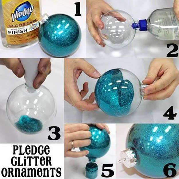 Promesa Glitter Adornos | 27 espectacularmente DIY fácil ornamentos de navidad, ver más en http://artesaniasdebricolaje.ru/spectacularly-easy-diy-ornaments-for-your-christmas-tree