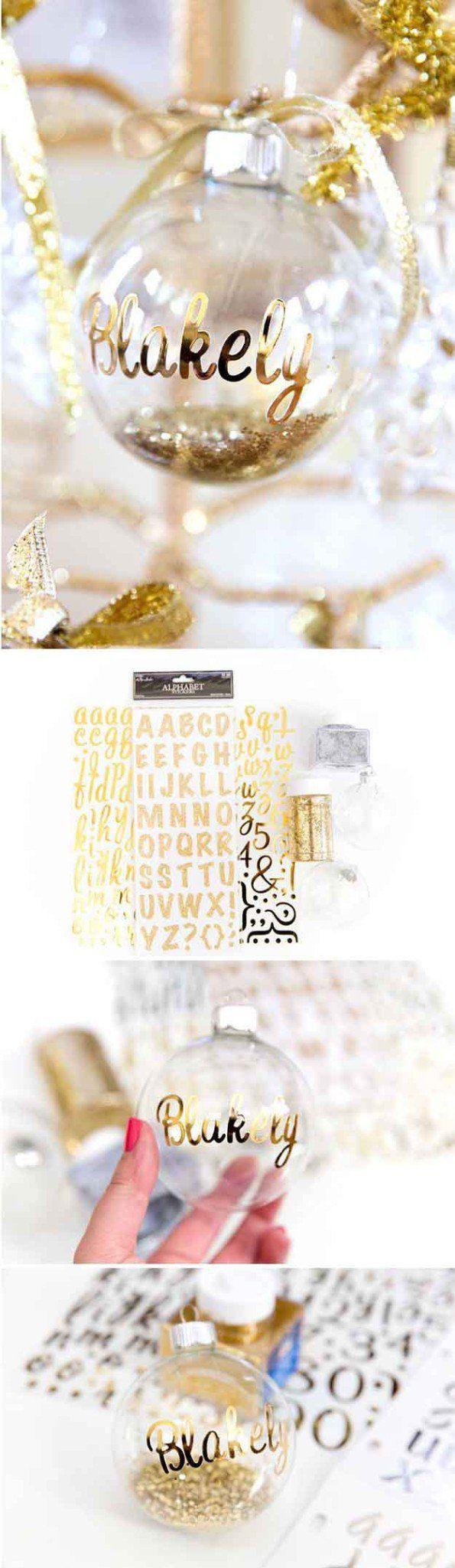 Bricolaje Adornos personalizados | 27 espectacularmente DIY fácil ornamentos de navidad, ver más en http://artesaniasdebricolaje.ru/spectacularly-easy-diy-ornaments-for-your-christmas-tree