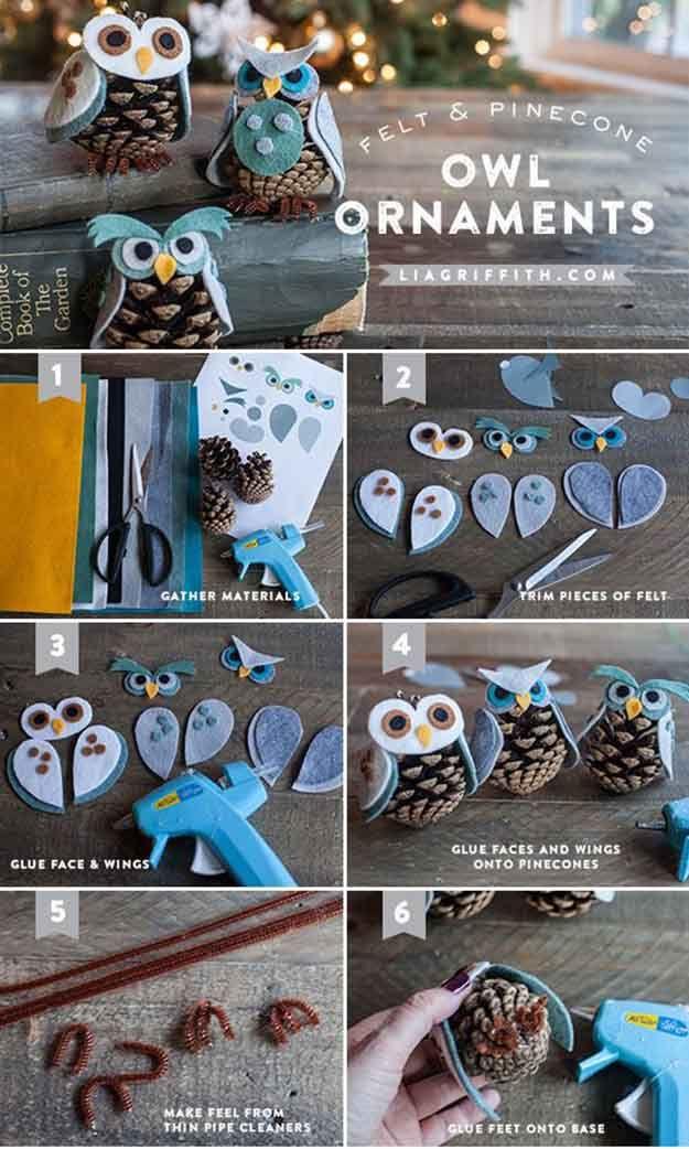 Felt & Pine Cone bricolaje Búho Adornos | 27 espectacularmente DIY fácil ornamentos de navidad, ver más en http://artesaniasdebricolaje.ru/spectacularly-easy-diy-ornaments-for-your-christmas-tree