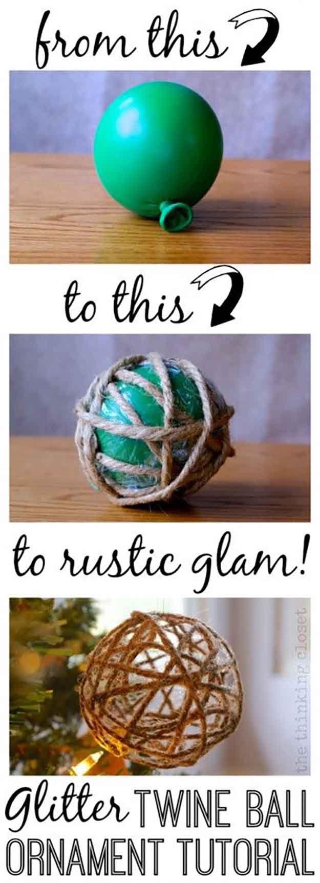 DIY Glitter Twine Ball de ornamento Tutorial | 27 espectacularmente DIY fácil ornamentos de navidad, ver más en http://artesaniasdebricolaje.ru/spectacularly-easy-diy-ornaments-for-your-christmas-tree