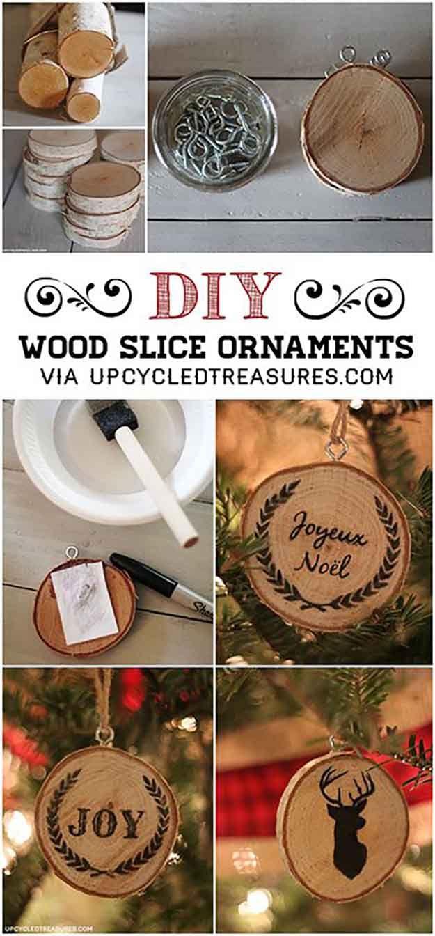 Bricolaje de madera rebanada Ornamento Tutorial   27 espectacularmente DIY fácil ornamentos de navidad, ver más en http://artesaniasdebricolaje.ru/spectacularly-easy-diy-ornaments-for-your-christmas-tree