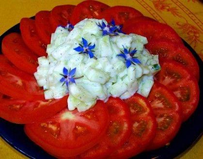 Blanco rojo y azul Ensalada