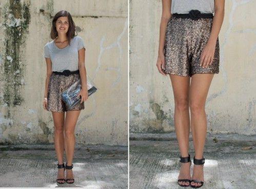 Pantalones cortos con lentejuelas de bricolaje