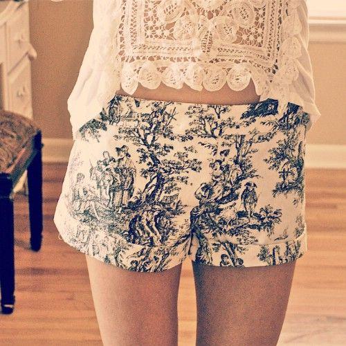 Pantalones cortos de impresión victorianas