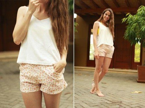Pantalones cortos cotidianos florales con bolsillos