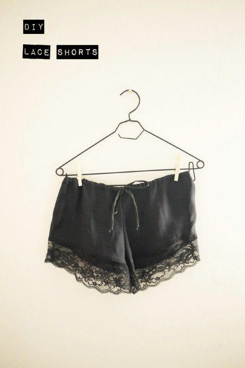 Pantalones cortos de seda y encaje de bricolaje