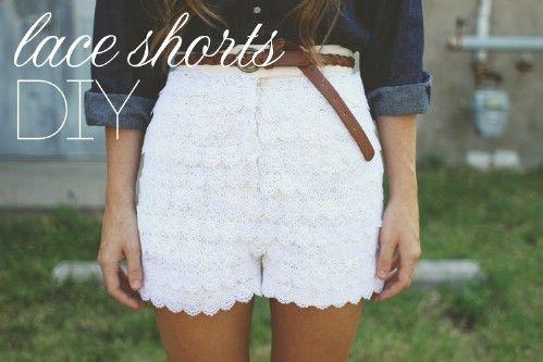 Encaje cubierto Shorts