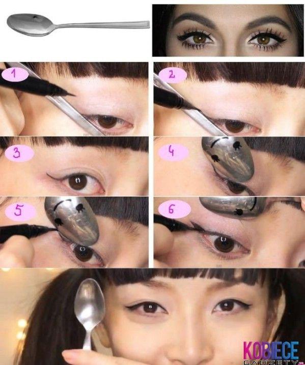 Obtener alas Forma Delineador de ojos con una cuchara - 40 de bricolaje belleza Hacks Que Son Genius Borderline