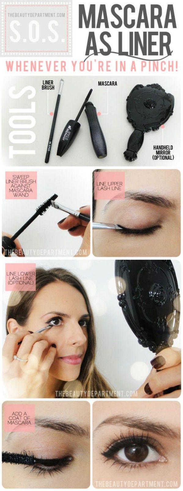 Utilice Mascara como Eye Liner - 40 de bricolaje belleza Hacks Que Son Genius Borderline