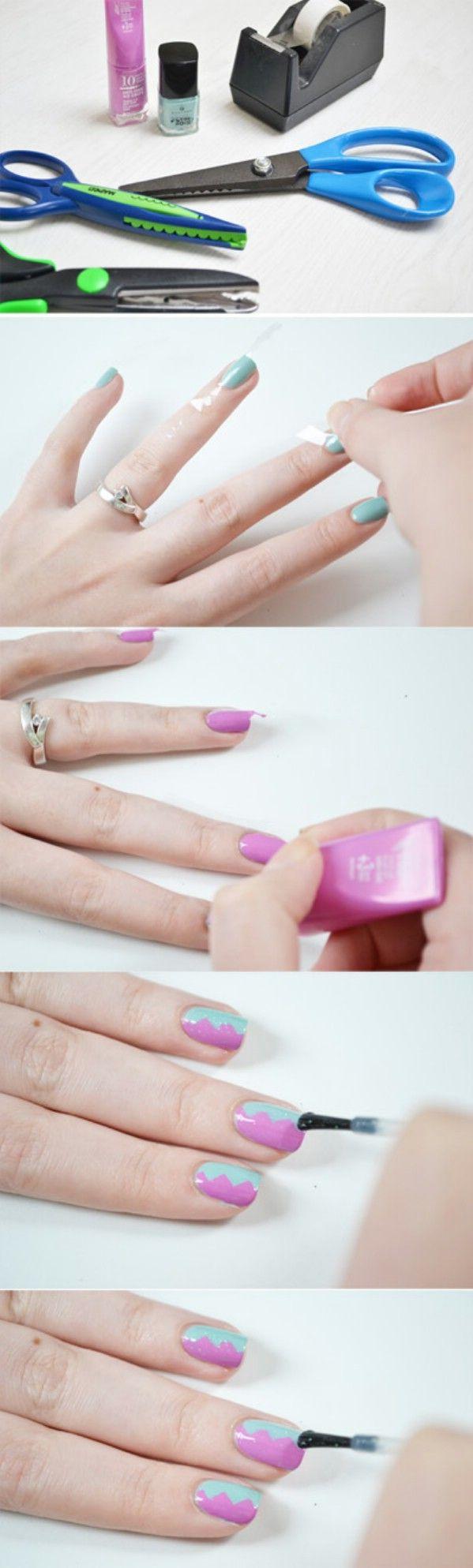 Fácil de dos colores Nails - 40 de bricolaje belleza Hacks Que Son Genius Borderline