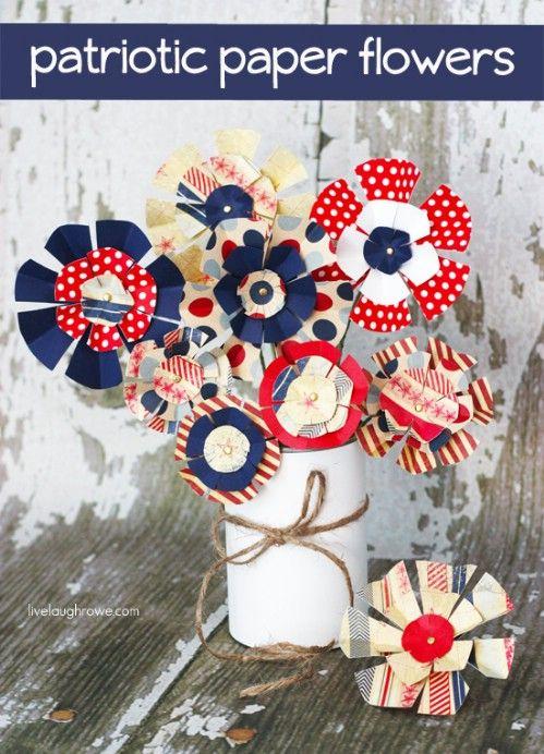 Patrióticos flores de papel