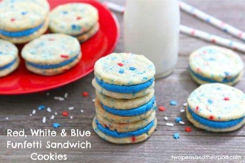 Blanco y azul rojos Funfetti cookies