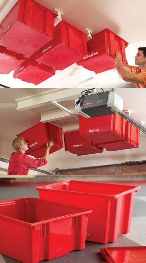 Techo Almacenamiento ahorra espacio - 49 Brilliant Garaje Organización Consejos, ideas y proyectos de bricolaje