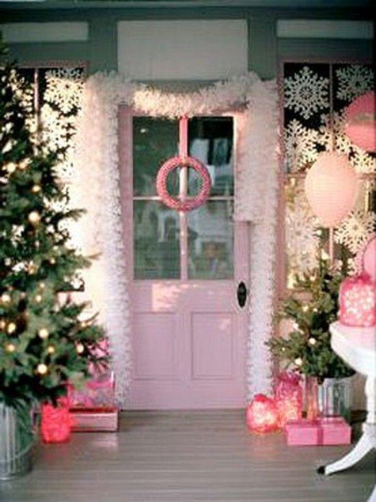 Ir rosa! - 60 bellamente festivas maneras de decorar tu porche para Navidad