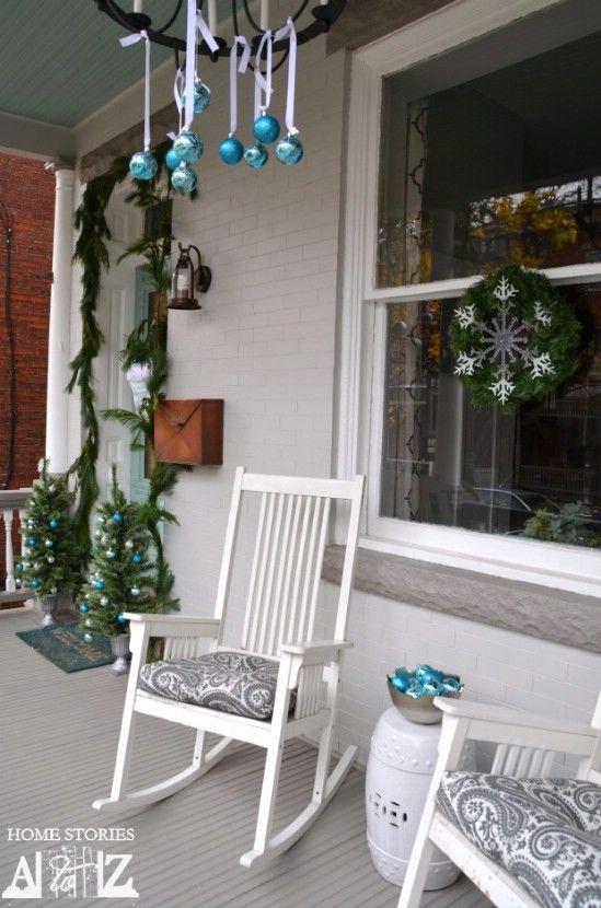 Adornos gota - 60 maravillosamente festivas maneras de decorar su porche para Navidad