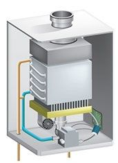 Sin tanque de agua Diagrama calentador de gas para el